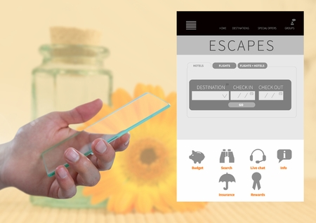 booked: Digital composite of Hand holding glass screen and Escapes holiday break App Interface