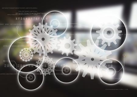 Digital composite of White gear graphic against blurry window Stock Photo