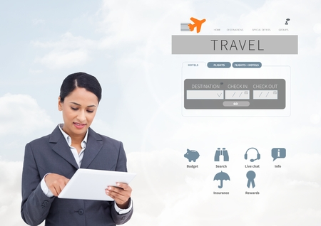 using tablet: Digital composite of Woman on tablet and Holiday travel break App Interface Stock Photo