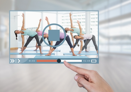 Digital composite of Hand touching Exercise fitness Video Player App Interface