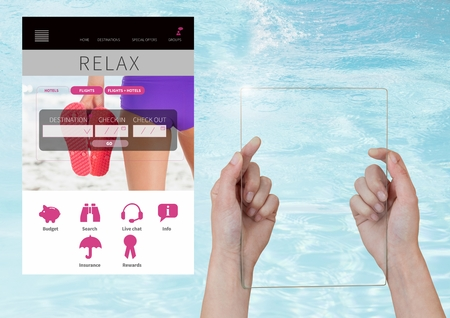booked: Digital composite of Hand holding glass screen Relax holiday break App Interface with water