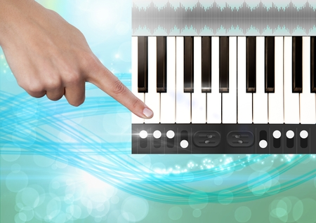 remix: Digital composite of Hand Touching Sound Music and Audio production engineering App Interface