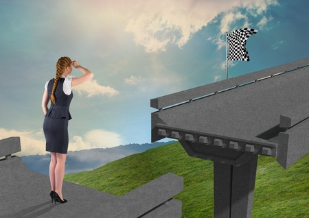 Digital composite of businesswoman lookint to the checker flag