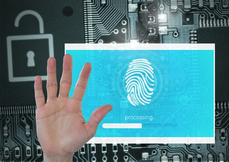 touch sensitive: Digital composite of Hand open and Identity Verify security fingerprint App Interface