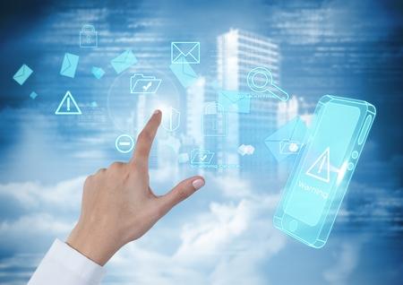 Compuesto digital de Hand Touching air de interfaz de tecnología móvil. Foto de archivo - 79222816