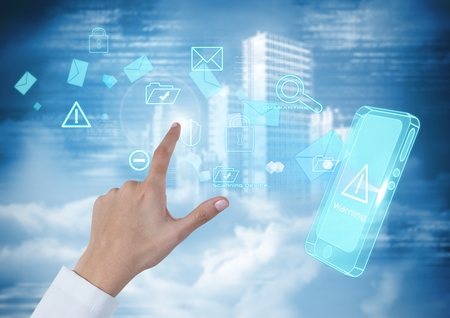 Digital composite of Hand Touching  air of mobile technology interface