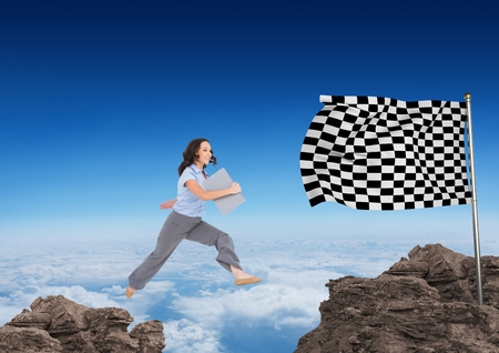 Digital composite of businesswoman with carpet jumping on the rocks to arrive to the checker flag