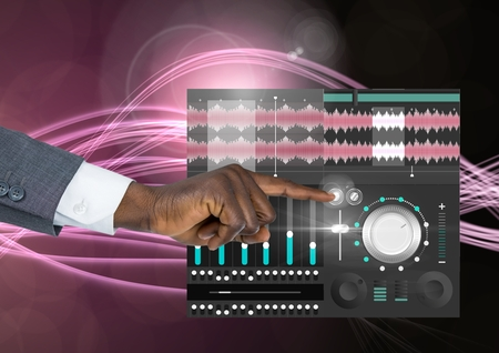 remix: Digital composite of Hand Touching Sound Music and Audio production engineering equalizer App Interface