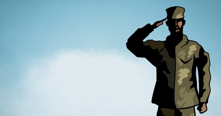 Digital composite of Cartoon soldier saluting against blue sky with cloud