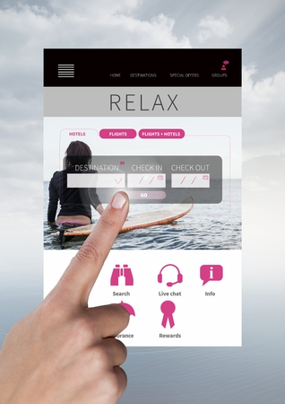 Digital composite of Hand touching Booking Relax holiday break App Interface 版權商用圖片