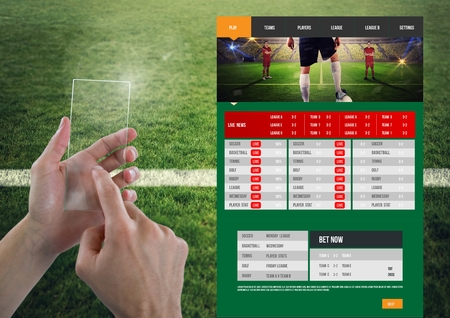 Digital composite of Hand touching a Betting App Interface pitch
