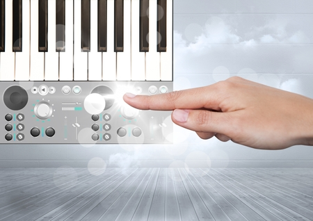 booked: Digital composite of Hand Touching Sound Music and Audio production engineering App Interface