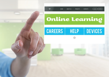 futuristic interior: Digital composite of Hand touching an Online learning App Interface Stock Photo