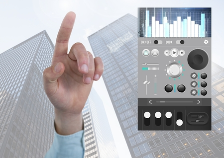 remix: Digital composite of Hand pointing with Sound Music and Audio production engineering equalizer App Interface in city