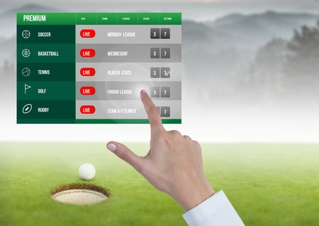doctor putting money: Digital composite of Hand touching a Betting App Interface Golf Stock Photo