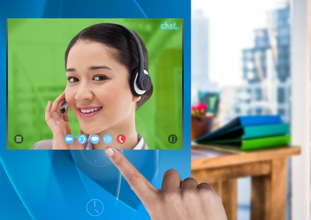 Digital composite of Hand touching Social Video Chat App Interface Stock Photo