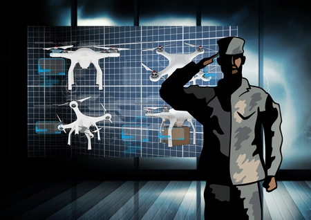 Digital composite of Army Soldier salute with Drones Dark App Interface Stock Photo