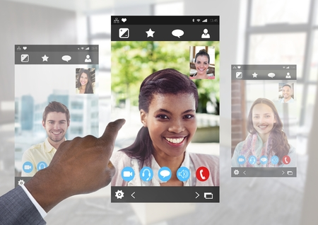 round chairs: Digital composite of Hand touching Social Video Chat App Interface Stock Photo