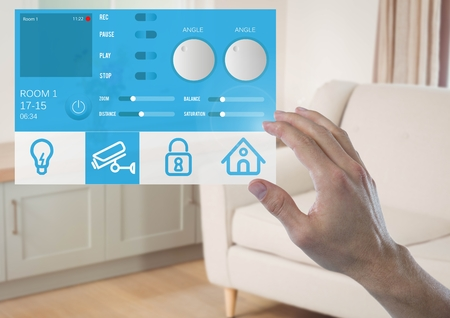 flooring: Digital composite of Hand touching a Home automation system App Interface
