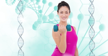 Digital composite of Healthy woman lifting dumbbell against DNA structure Stok Fotoğraf