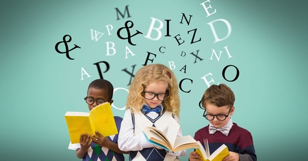 Digital composite of Students reading book while letters flying in background