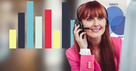 Digital composite of Redhead woman using headphones with graph in background