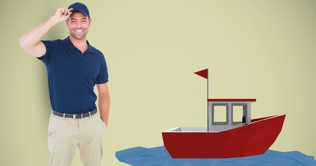Digital composite of Delivery man wearing cap by 3d boat