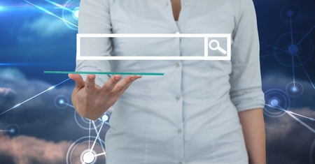 yourself: Digital composite of Midsection of businesswoman holding transparent device with search screen