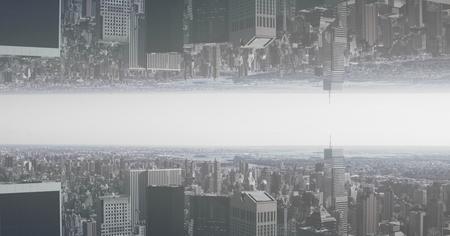 デジタル複合イメージの上下ダウン都市のデジタル合成 写真素材
