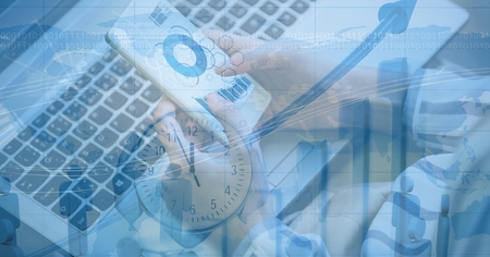 using tablet: Digital composite of Digital composite image of business person making graph with overlay