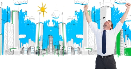 body scape: Digital composite of Digital composite image of successful businessman with arms raised in drawn city