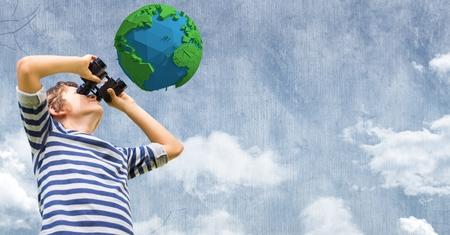 Digital composite of Boy looking at low poly earth through binoculars