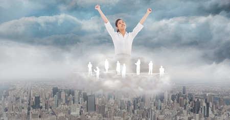 cheer full: Digital composite of Successful businesswoman with employees over city in clouds
