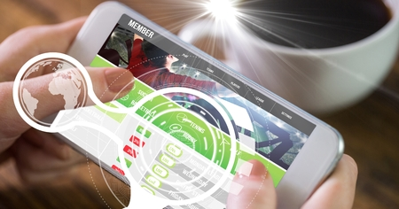using smart phone: Digital composite of Hands using mobile phone with overlay Stock Photo