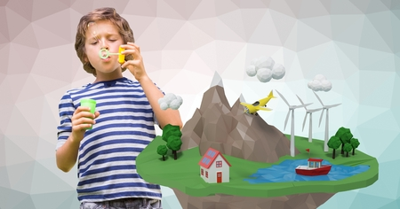 Digital composite of Boy blowing soap bubbles by low poly earth