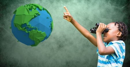 Digital composite of Girl pointing while looking at low poly earth through binoculars Stock Photo
