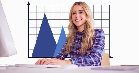 career fair: Digital composite of Smiling businesswoman against graph in office