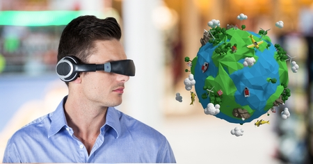 futuristic interior: Digital composite of Businessman wearing VR headphone by low poly earth