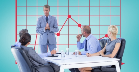 Digital composite of Businessman explaining colleagues in meeting with graph in background
