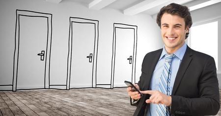 using smart phone: Digital composite of Smiling businessman using smart phone against drawn doors