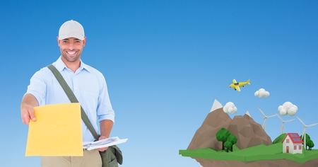 re design: Digital composite of Happy delivery man giving parcel by low poly cliff