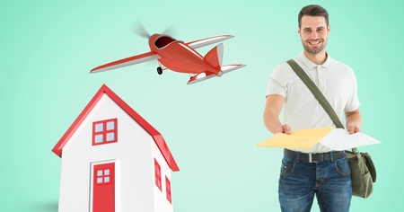 Digital composite of Delivery man giving parcel by house and airplane