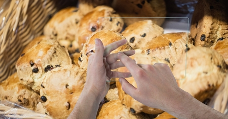 futuristic interior: Digital composite of Hands taking picture of muffins at cafe Stock Photo