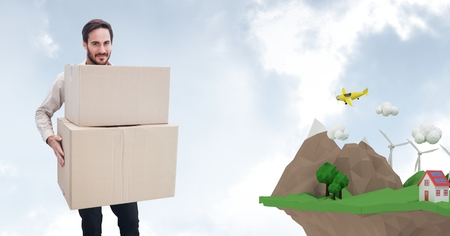 re design: Digital composite of Delivery man carrying parcel by low poly cliff
