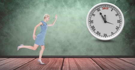 Digital composite of Full length of businesswoman running late with clock in background