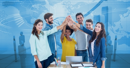Digital composite of Digital composite image of business people joining hands against graphs Stock Photo