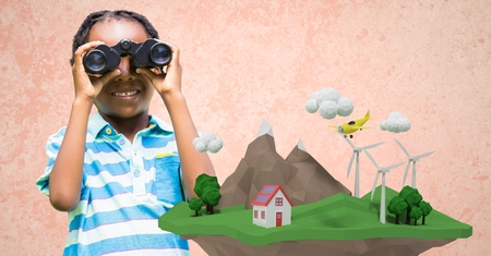 Digital composite of Girl using binoculars with low poly cliff in front Stock Photo