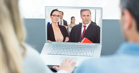 Digital composite of Rear view of business people video conferencing on laptop Stock Photo