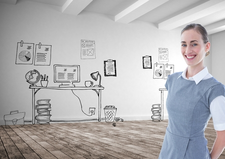 floorboard: Digital composite of Smiling businesswoman standing against graphics
