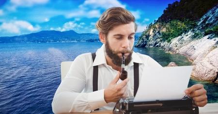 Digital composite of Hipster smoking pipe while using typewriter against lake